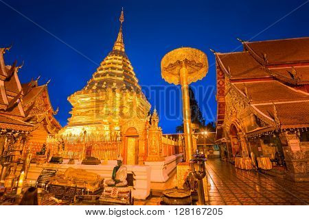 CHIANG MAI, THAILAND - OCTOBER 13, 2015: Wat Phra That Doi Suthep Temple at night. The temple is said to have been founded in 1383.