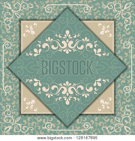 Vintage background elegance antique victorian floral ornament baroque frame beautiful invitation classical old style card
