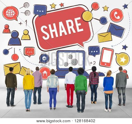 Share Sharing Portion Media Connection Feedback Concept