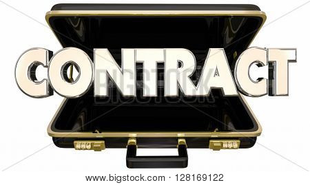 Contract Agreement Deal Briefcase Sale Customer 3d Words