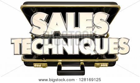 Sales Techniques Process System Advice Tips Briefcase 3d Words