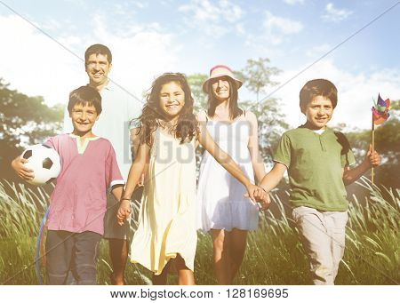 Family Happiness Parents Holiday Vacation Activity Concept