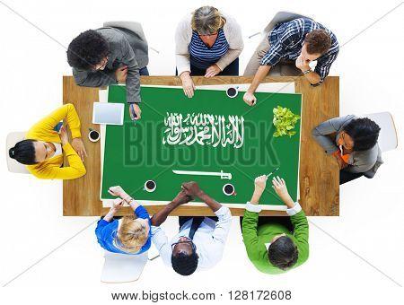 Saudi Arabia National Flag Business Team Meeting Concept