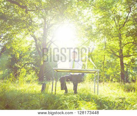 Environmentally Friendly Businessman Nature Concept