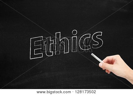 Ethics written on a blackboard