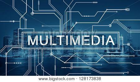 Multimedia Content Digital Communication Concept