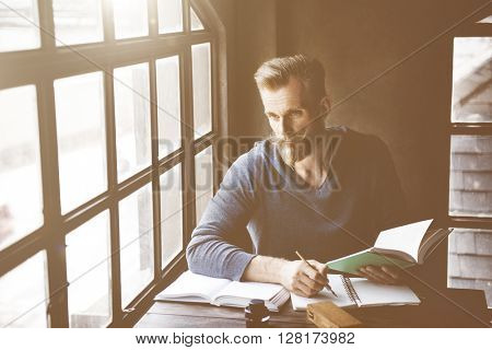 Man Reading Book Relax Lifestyle Concept
