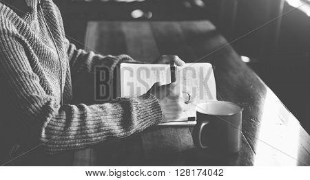 Asian Woman Listening Music Headphone Writing Notebook Concept