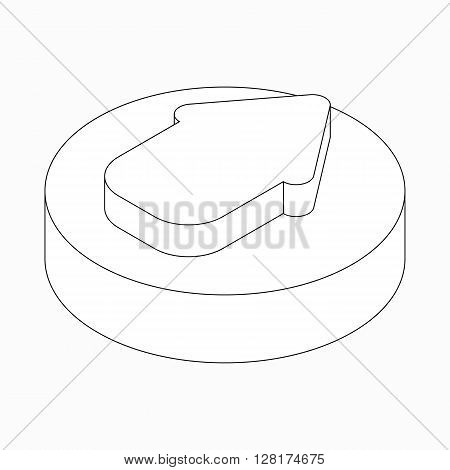 Wide classic arrow with round corners icon in isometric 3d style isolated on white background