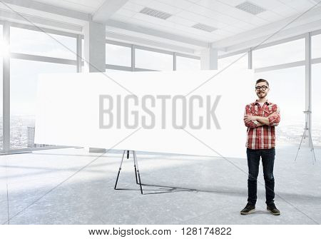 Guy with presentation board