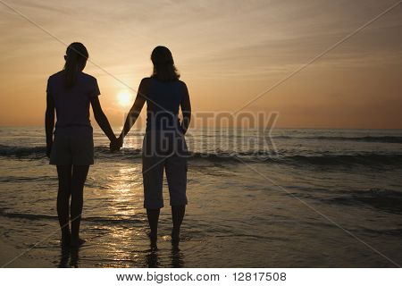 Caucasian mid-adult mother teenage and daughter standing on beach at sunset holding hands.
