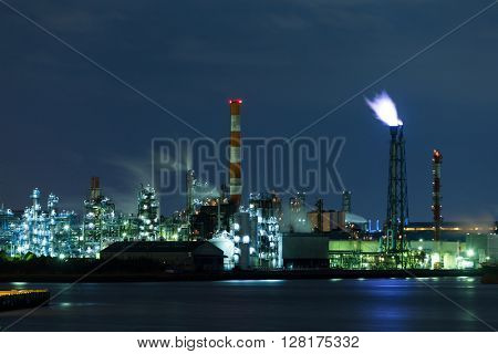 Refinery petrochemical factory at night