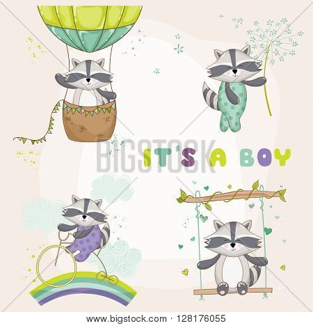 Baby Shower Card - with Baby Raccoon - in vector