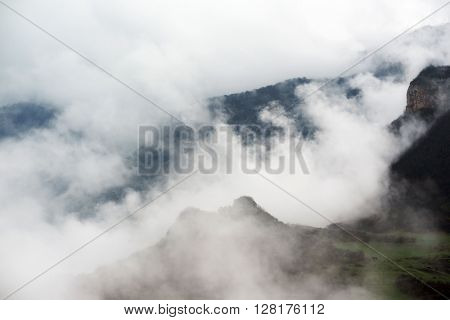 Mountains in Armenia covered with clouds