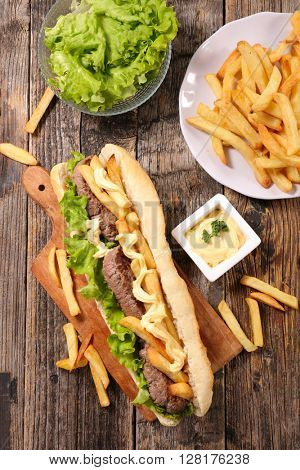 sandwich with beef and french fries