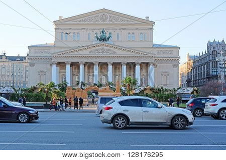 Moscow, Russia - april, 18, 2016: Facade of Bolshoy Theatre on Ohotniy Riad in Moscow, Russia