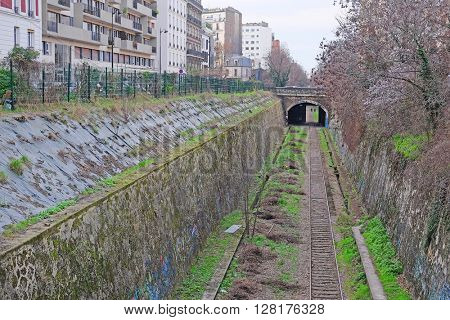 Paris, France - February, 8, 2016: one-track railroad line in Paris, France