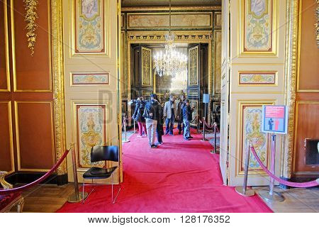 Paris, France - February 10, 2016: King room in Louvre - the famoust art musium in Paris, France