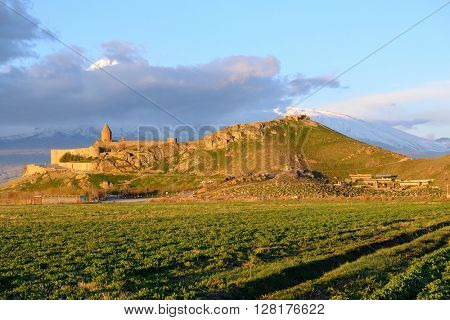 Ancient monastery Khor Virap in Armenia with Ararat mountain at background. Was founded in years 642-1662.