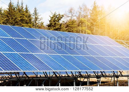 Solar panels plant in the countryside