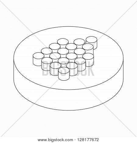 Wide dots arrow icon in isometric 3d style isolated on white background