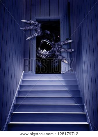 Monster in open door. 3d render