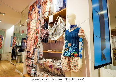 CHICAGO, IL - MARCH 24, 2016: inside of Uniqlo store. Uniqlo Co., Ltd. is a Japanese casual wear designer, manufacturer and retailer.
