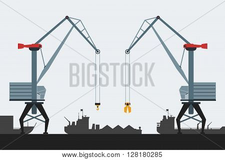 Cargo seaport with cranes and ships. Modern flat design style. Simple vector icons. Web site page and mobile app design element.