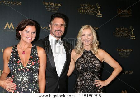 LOS ANGELES - APR 29:  Heather Tom, Don Diamont, Katherine Kelly Lang at the 43rd Daytime Emmy Creative Awards at the Westin Bonaventure Hotel  on April 29, 2016 in Los Angeles, CA