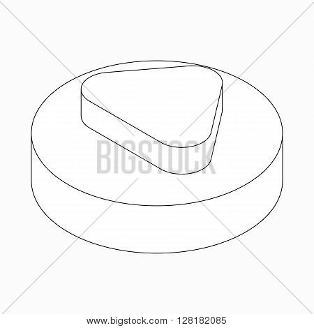 Arrow with round corners icon in isometric 3d style isolated on white background