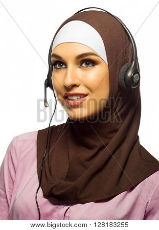 Young muslim woman call center worker isolated