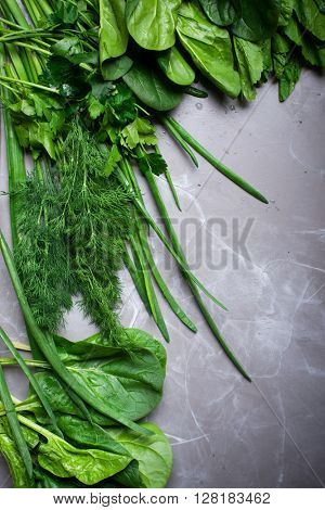 Aromatic fresh herbs from garden lay flat from above. Detox, diet or healthy food concept