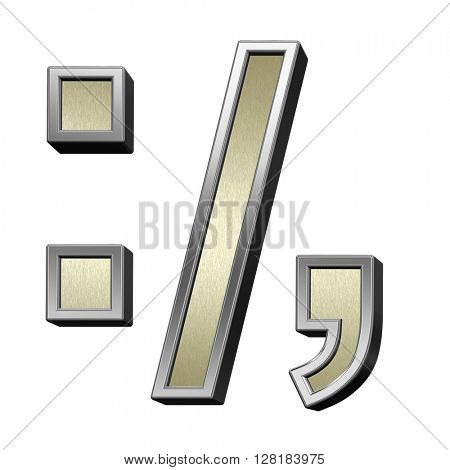 Colon, semicolon, period, comma from brushed gold with shiny silver frame alphabet set, isolated on white. 3D illustration.