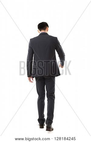 open door pose, full length portrait of Asian young business man