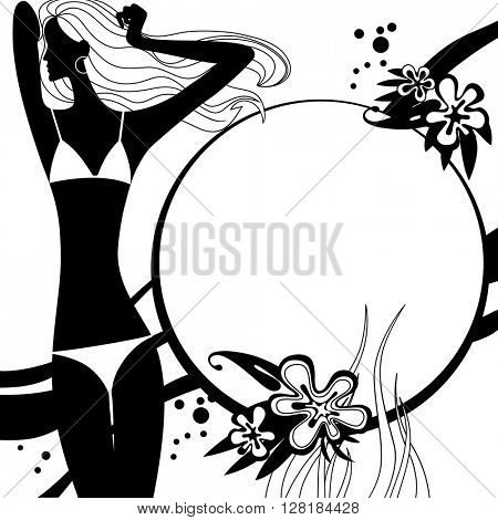 Fashion template page with silhouette of girl in black and white colors. Original design for coloring book. Vector illustration