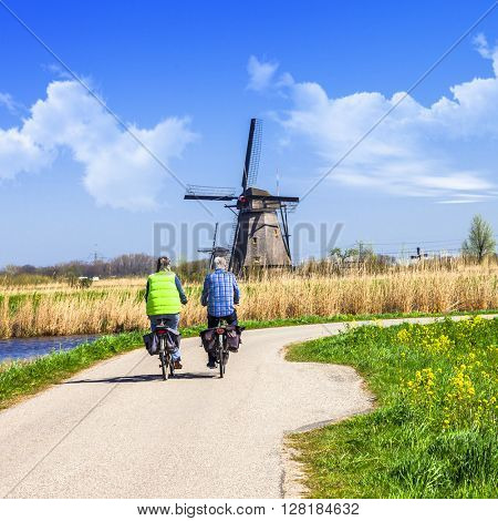 traditional Holland countryside. Windmills of Kinderdijk