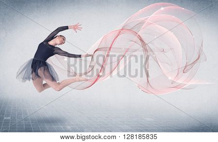 Dancing ballet performance artist with abstract swirl concept on background
