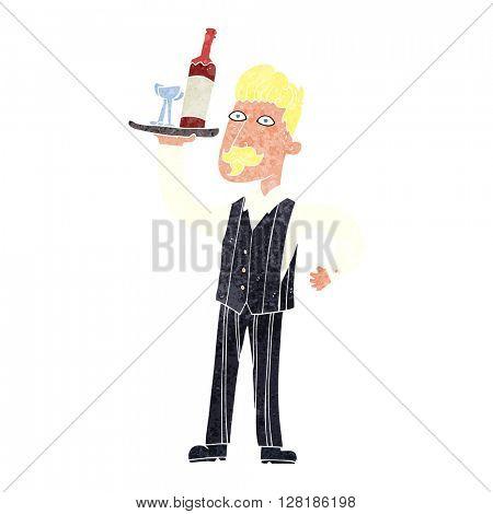 freehand retro cartoon waiter