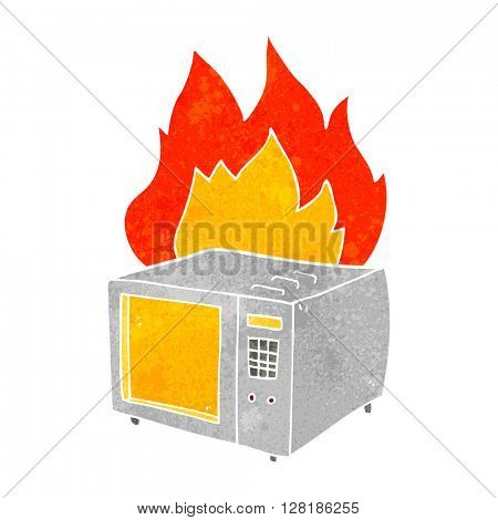 freehand retro cartoon microwave on fire