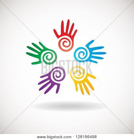 Circle shape from bright hands together. Abstract logo for kindergarden, charity, health or medical center/