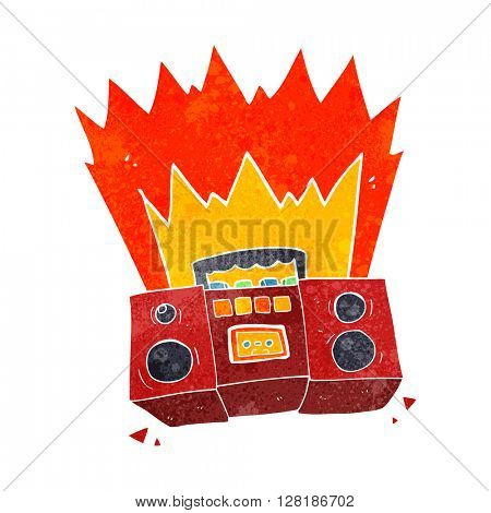 freehand retro cartoon boom box