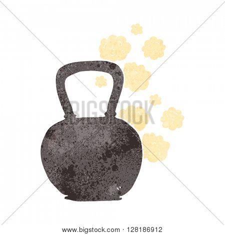 freehand retro cartoon kettle bell