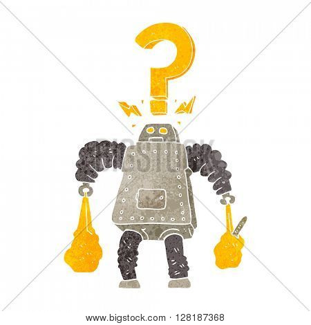 freehand retro cartoon confused robot carrying shopping