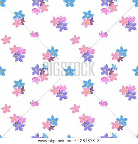 Stylish floral seamless pattern with forget-me-not. Forget me not flowers. Good for web, print, wrapping paper