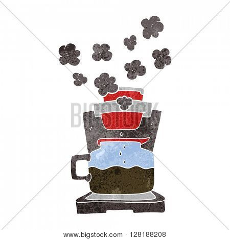 freehand retro cartoon coffee maker