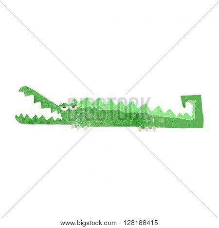 freehand retro cartoon crocodile