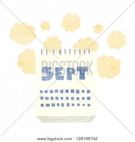 freehand retro cartoon calendar showing month of September