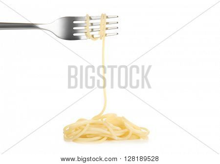 Spaghetti rolled on fork isolated on white