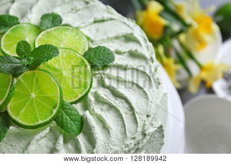 Lime cake, close up