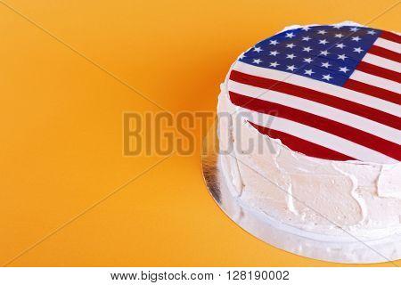 American flag cake, on orange background